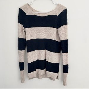 If It Were Me Black And Cream Stripped Sweater